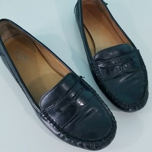 Coach Black Leather Penny Loafer Flats 7.5